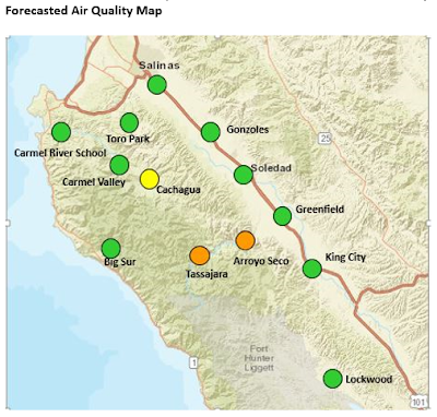 Forecast Map for September 25. Cachagua looks to see moderate air quality, and expectations are for Tassajara and Arroyo Seco to see air quality that is unhealthy for sensitive groups