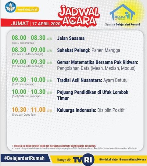 Jadwal Acara TVRI Program Belajar dari Rumah, Jumat 17 April 2020