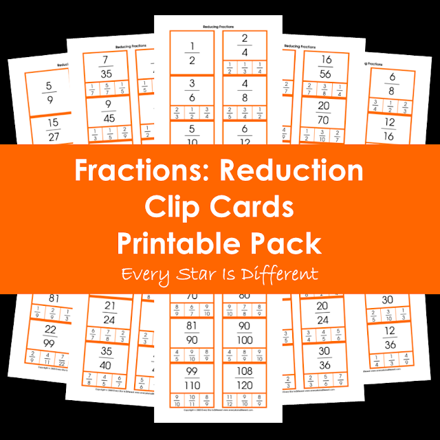 Fractions: Reduction Clip Cards Printable Pack