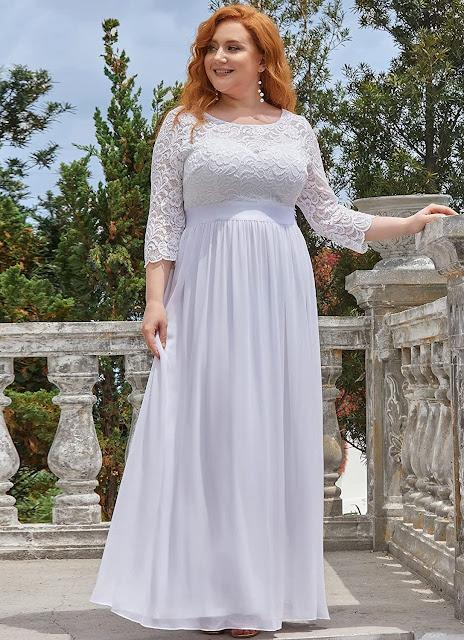 White Plus Size Chiffon Bridesmaid Dresses