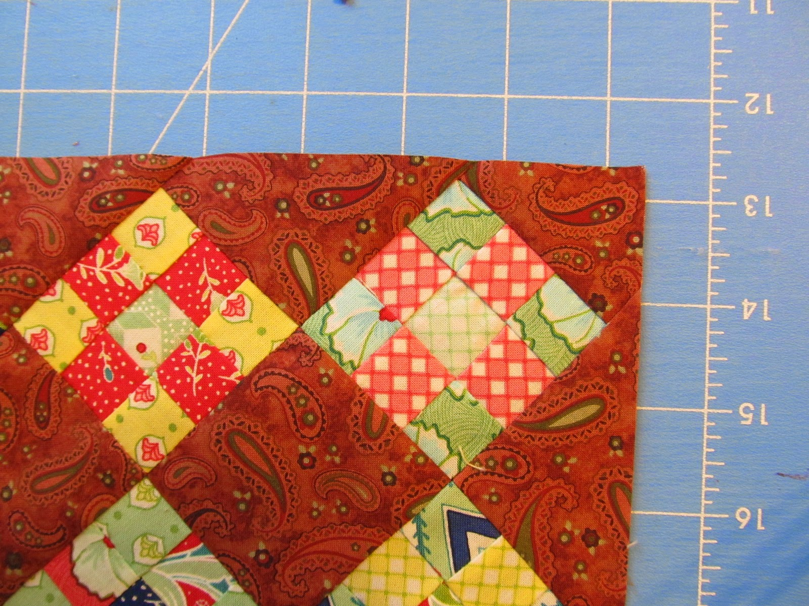 nine-patch quilt block into a quilted table topper.
