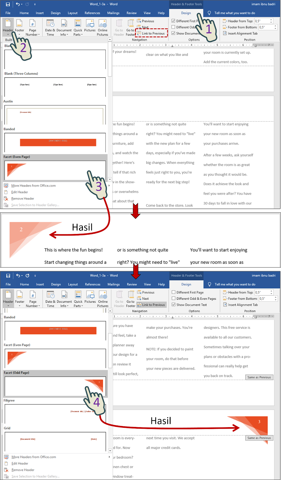 Add a Facet (Even Page) header to page 2, and a Facet (Odd Page) header to page 3