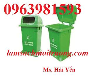 Thùng đựng rác 95 lít, thùng rác nhựa HDPE, thùng rác công cộng