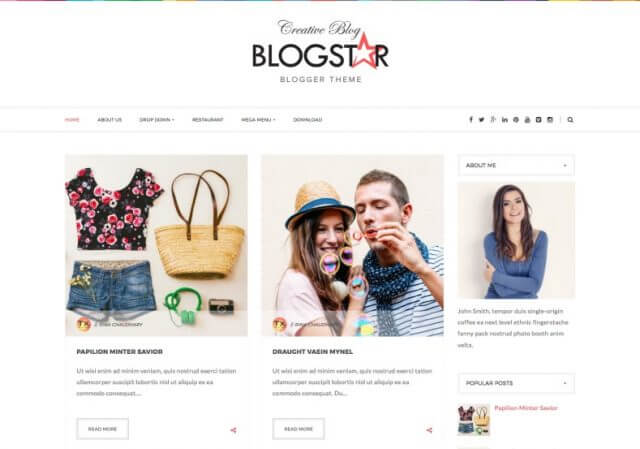 BlogStar Blogger Template Full Version Free Download