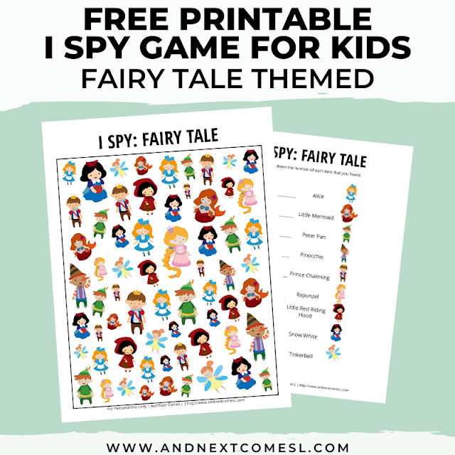 Free I spy game printable for kids: fairy tale themed