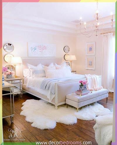 ترتيب غرف نوم بطريقة أنيقة مع سجاد أبيض