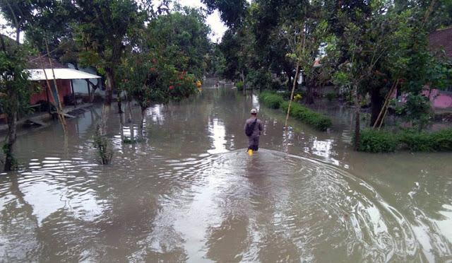 Banjir genangan di Lumajang akibat hujan deras