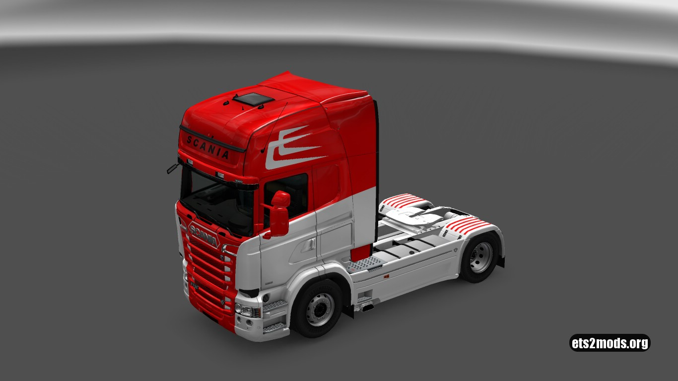 White & Red Skin for Scania RJL