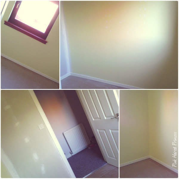 collage of photos of box room mid conversion to shoe room