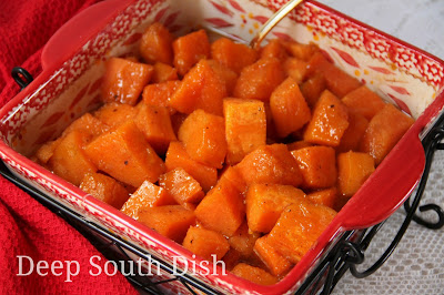 Sweet potatoes baked in a spiced, sugar syrup.