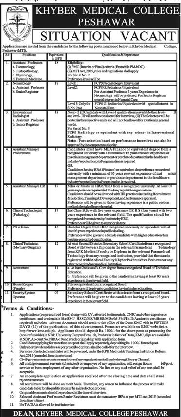 New Jobs in KPK - KMC - Khyber Medical College - KMC Jobs - KMC Peshawar - Jobs in Peshawar 2021 - Jobs in Pakistan 2021