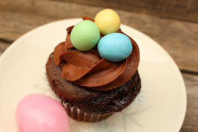 Easter cake with eggs on top