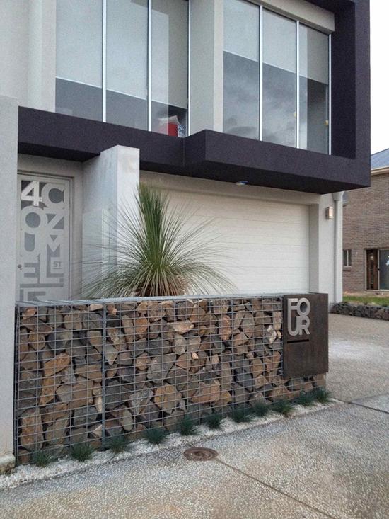 Pagar Rumah Batu Alam : pagar, rumah, LINGKAR, WARNA:, Alternatif, Desain, Pagar, Minimalis, Menggunakan, Sistem, Bronjong