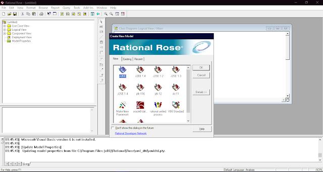 Tampilan awal aplikasi Rational Rose