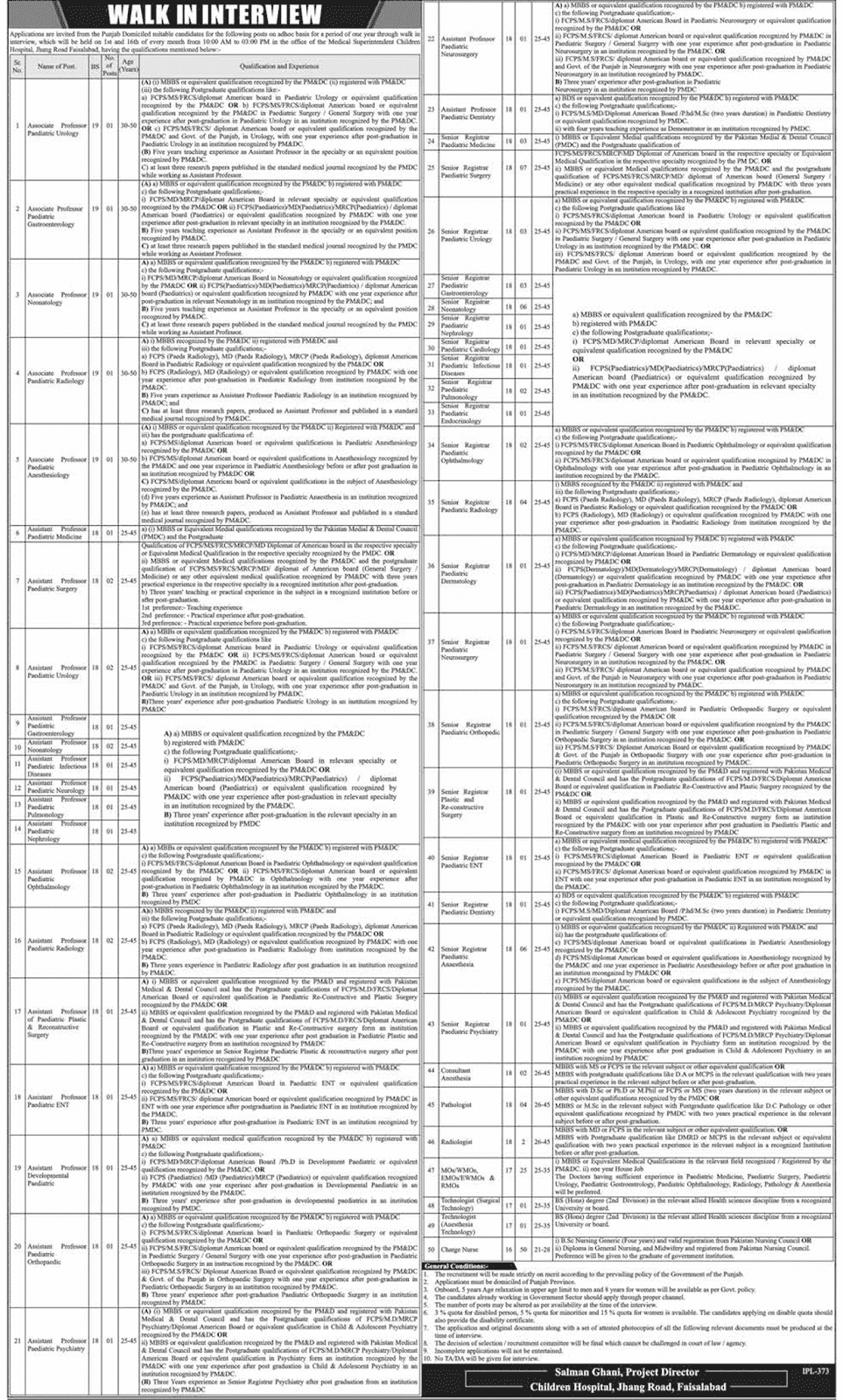 Jobs In Children Hospital Faisalabad
