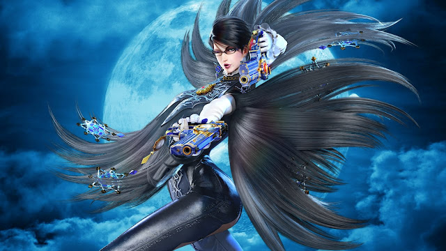 Bayonetta a beautiful witch lady wearing peacock suit glasses and flexing a pair of blue revolvers