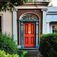 Dublin photos: distressed orange and blue door