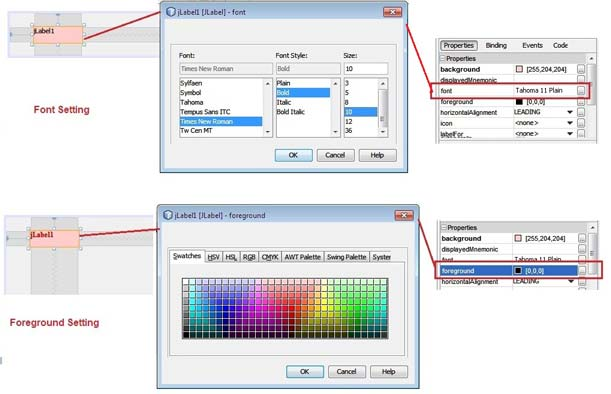 jLabel Forecolor and Font setting
