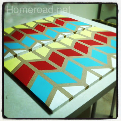 How to make a DIY painting using chevron design. Homeroad.net