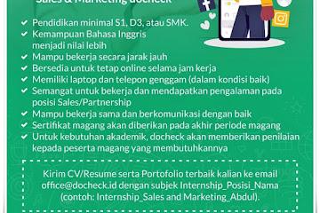 Lowongan Magang Sales & Marketing Docheck Bandung