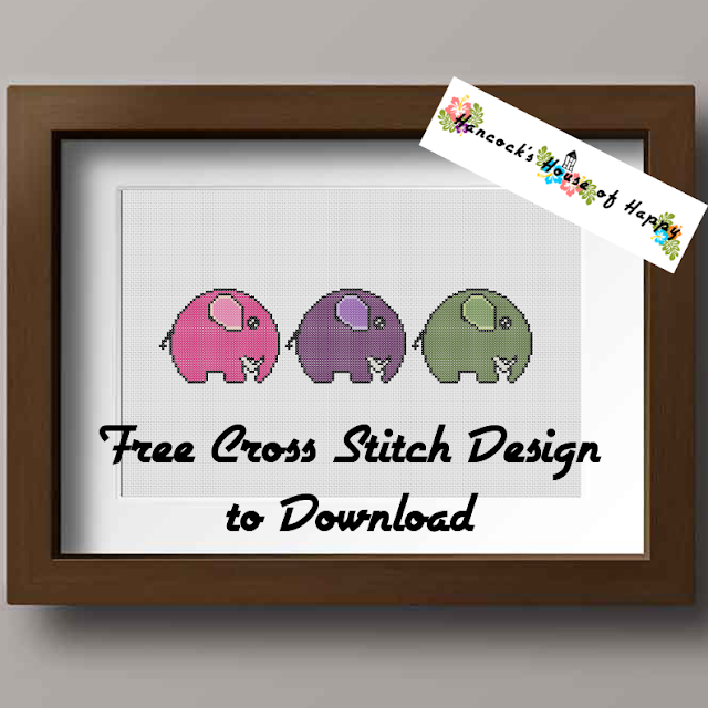 Free Simple Cute Little Elephant Sampler Cross Stitch Pattern to Download.