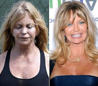 fotos de famosos antes e depois da maquiagem - Goldie Hawn