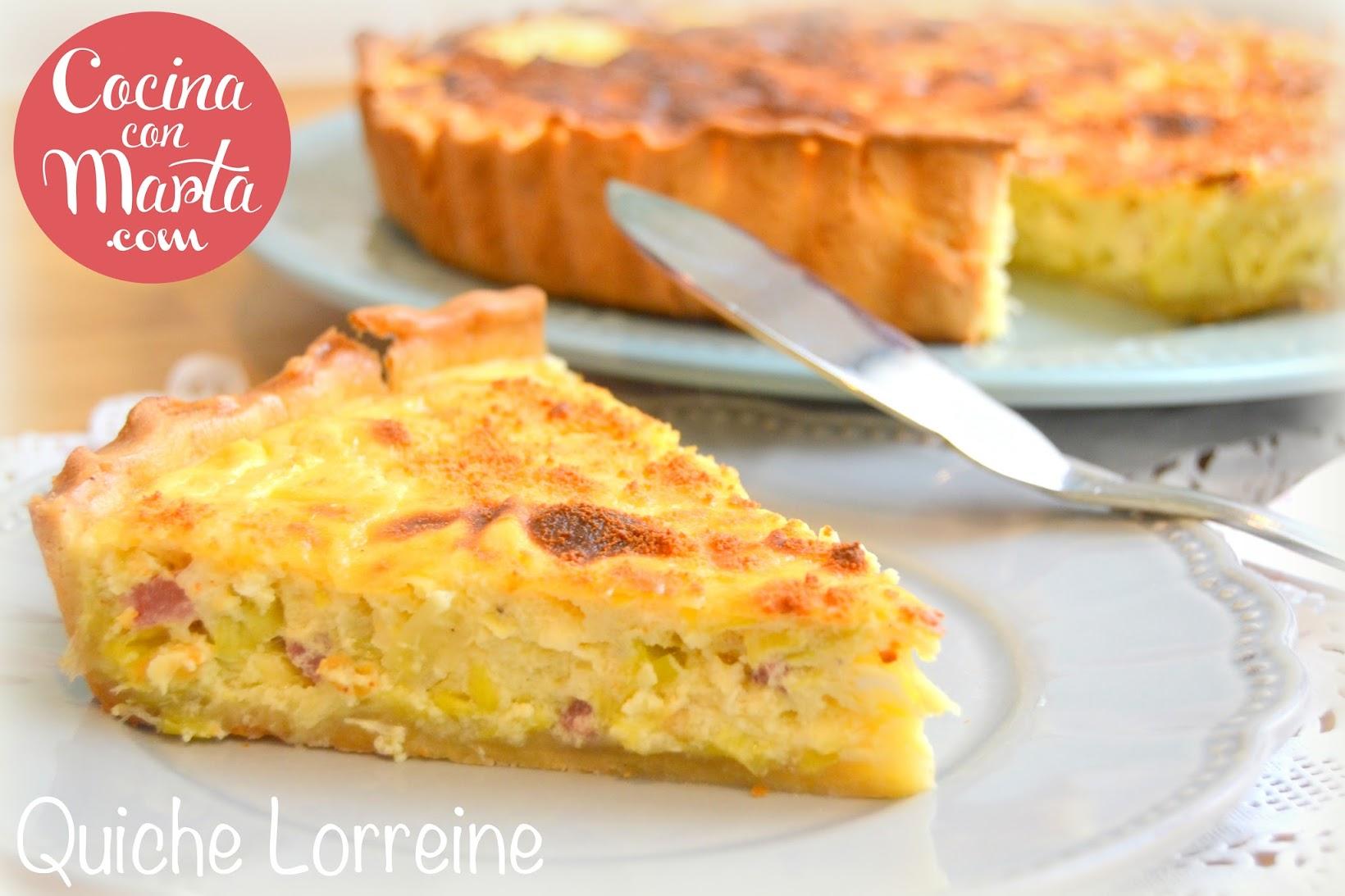 Quiche Lorreine, quiche puerros y bacon, nata, crema, leche evaporada, tarta salada, fácil, rápida, casera, receta, cocina con marta