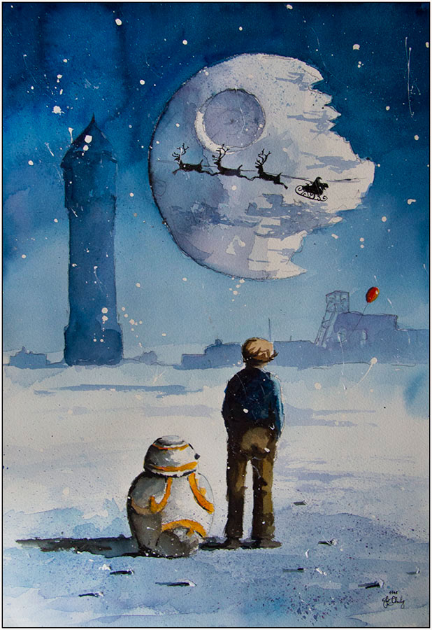 05-Christmas-Tree-BB8-Droid-Grzegorz-Chudy-Paintings-of-Star-Wars-worlds-in-Watercolors-www-designstack-co