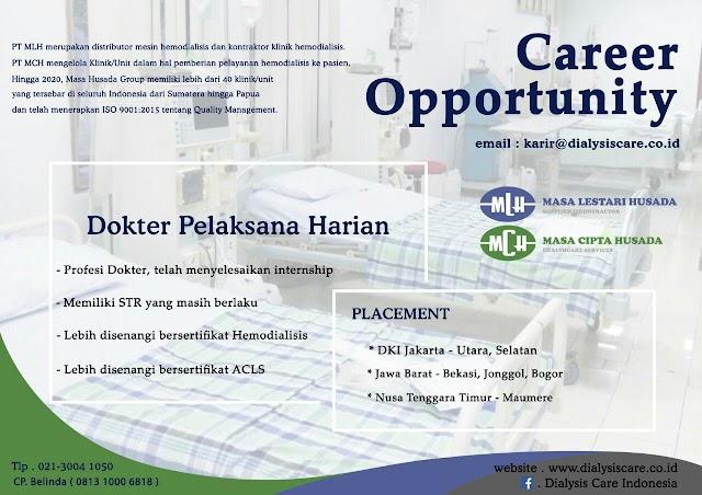 "Loker ""Dyalisis Care Indonesia"" Dokter Pelaksana Harian Hemodialisis"