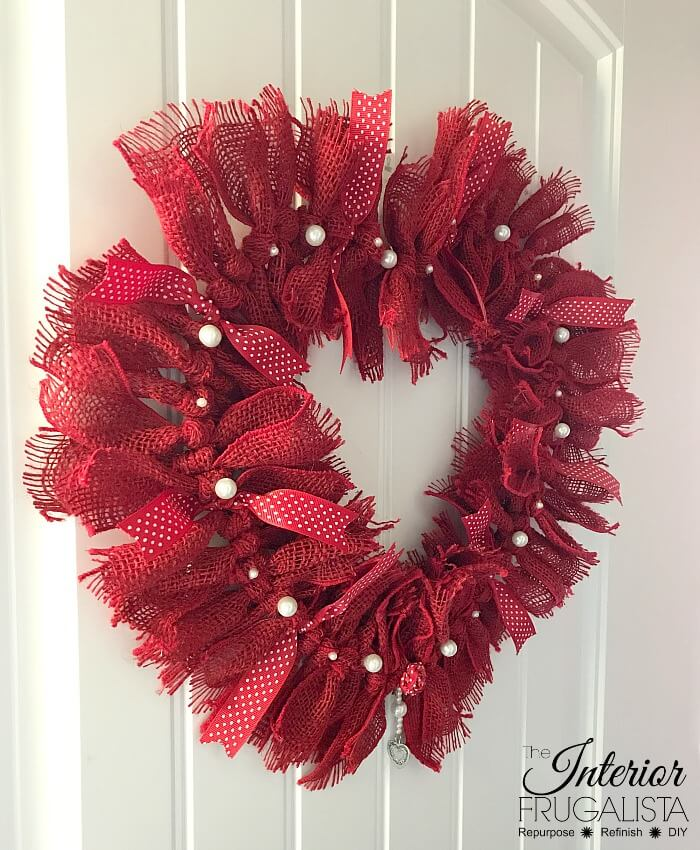 Burlap Ribbon Valentine Wreath DIY For Front Door