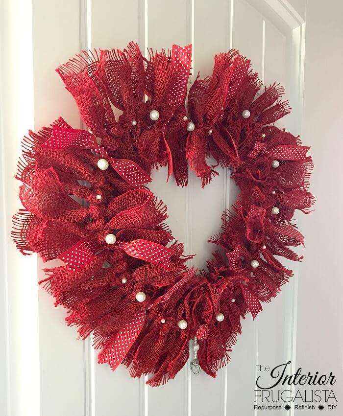 DIY Burlap Valentine Heart Wreath