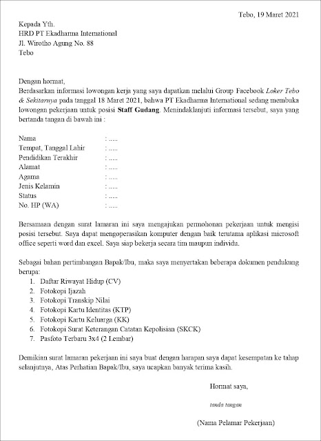 Contoh Application Letter Untuk Staff Gudang (Fresh Graduate) Berdasarkan Informasi Dari Media Sosial