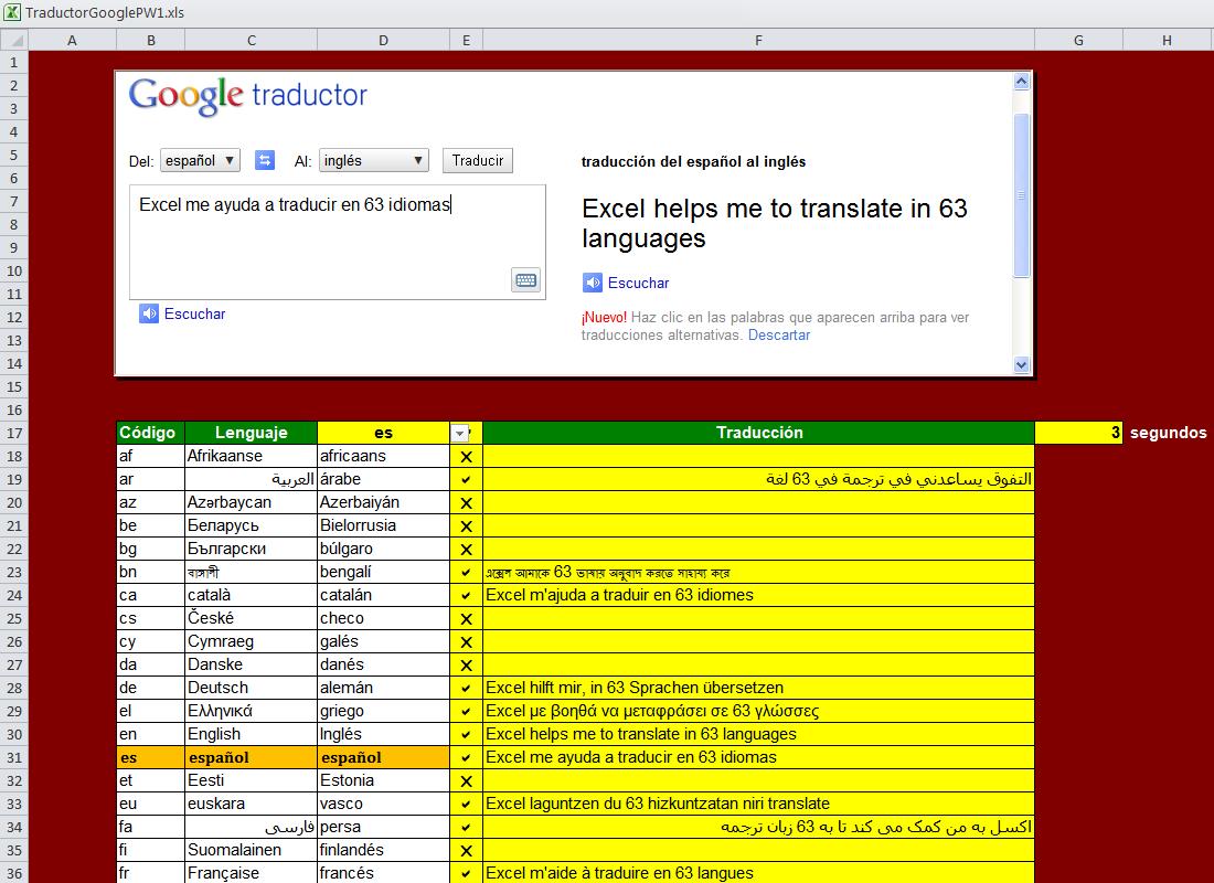 Traductor De 58 Idiomas En Excel