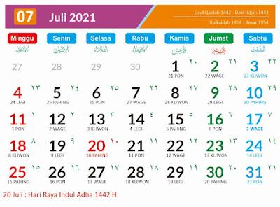 Kalender 2021 Masehi Juli