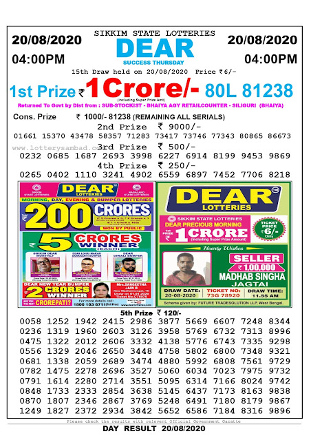 Lottery Sambad Today 20.08.2020 Dear Success Thursday 4:00 pm