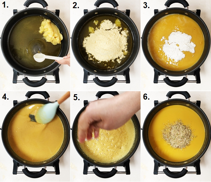step by step method images for making besan ladoo