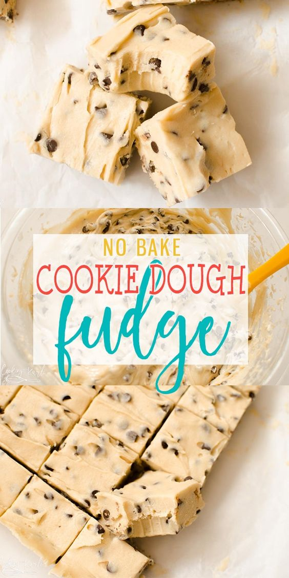 Cookie Dough Fudge is a cross between chocolate chip cookie dough and delicious, creamy fudge! This no bake treat comes together quickly and will satisfy everyone's sweet tooth! |Cooking with Karli| #cookiedough #fudge #christmastreat #dessert #nobake #easy
