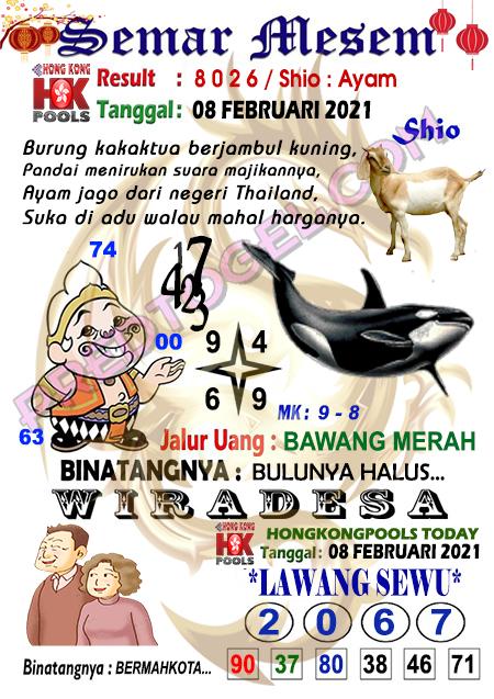 Syair HK Semar Mesem Senin 08 Februari 2021