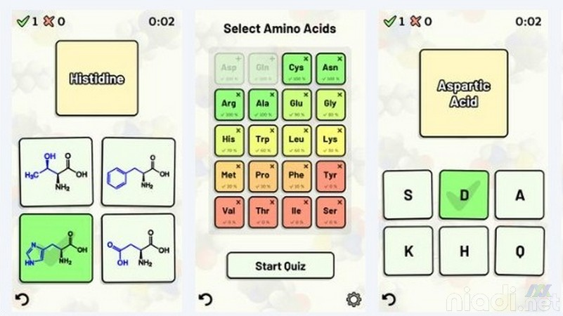 Daftar Game Android untuk Belajar Kimia, Kuis Asam Amino
