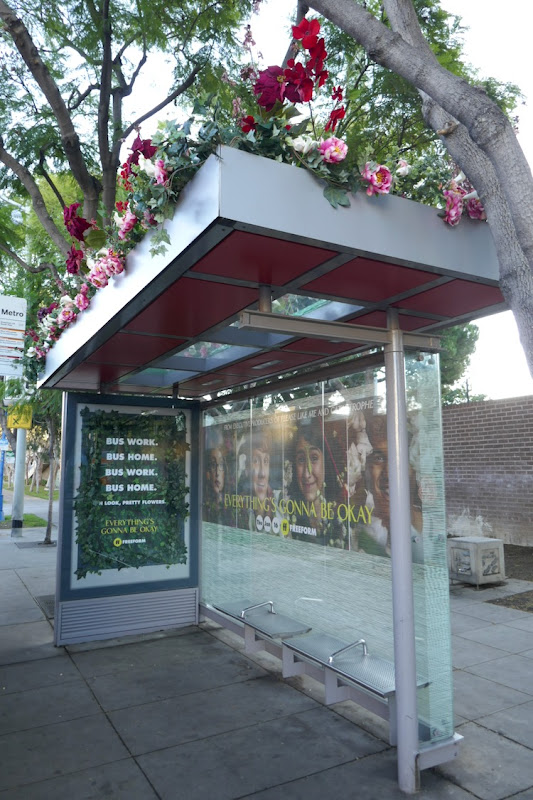 Everythings Gonna Be Okay floral transit shelter