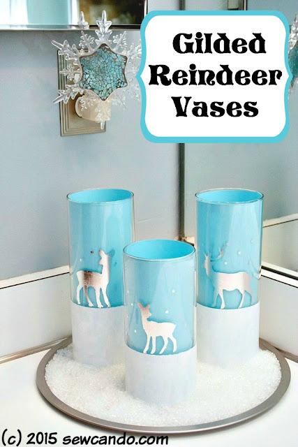 gilded reindeer vases tutorial