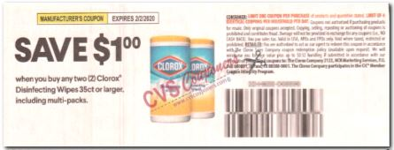 "$1.00/2 Clorox Wipes Coupon from ""SMARTSOURCE"" insert week of 1/5/20."