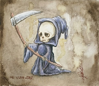 The very small / tiny dark side artwork: The Sad Death Working watercolour by Elizabeth Casua, tHE 33ZTH oRDER (no frame)
