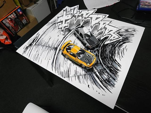 ilustración-estilo-manga-ilusión-óptica-fotografica