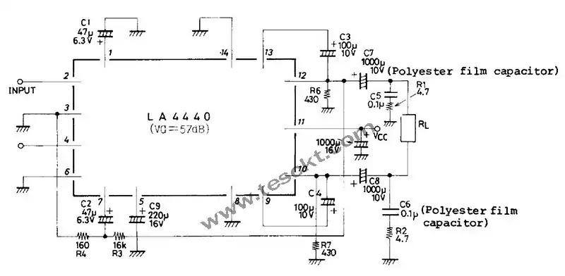 la4440 amplifier datasheet circuit