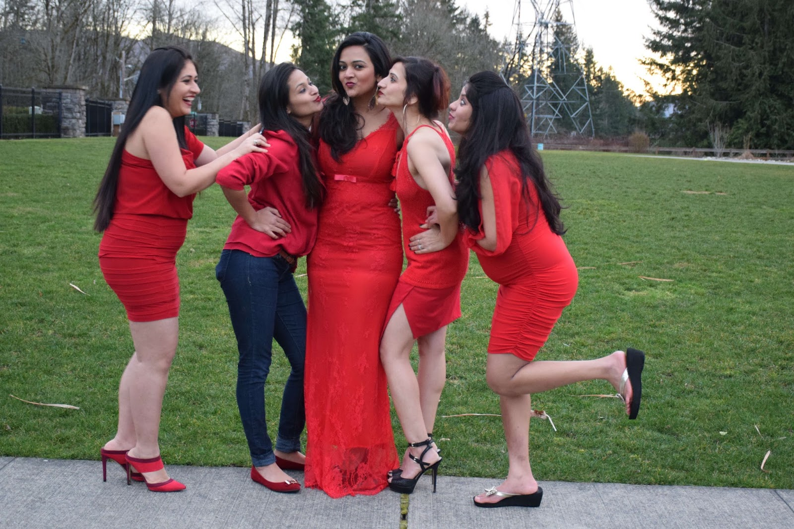 fun shoot with girls, gals all wearing red dress, group pic of indian gals, different types of red dresses, Seattle indian ladies, red lipstick on brown skin
