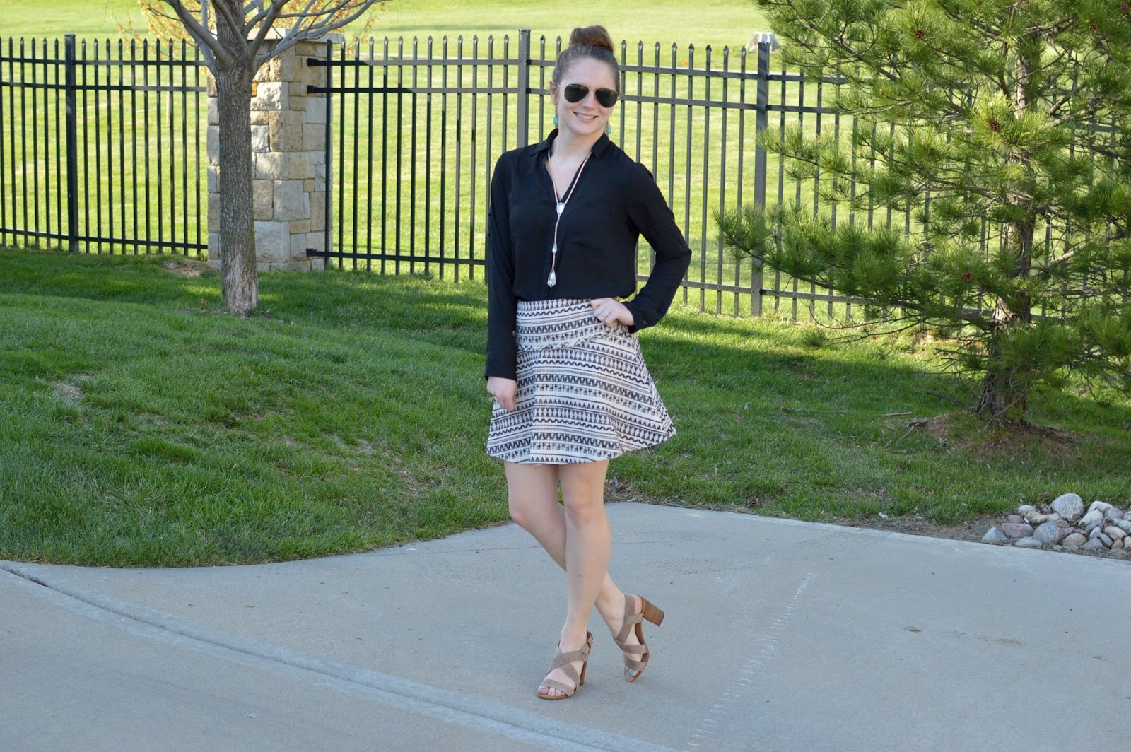 jacquard fit and flare skirt | a memory of us | how to style a patterned skirt