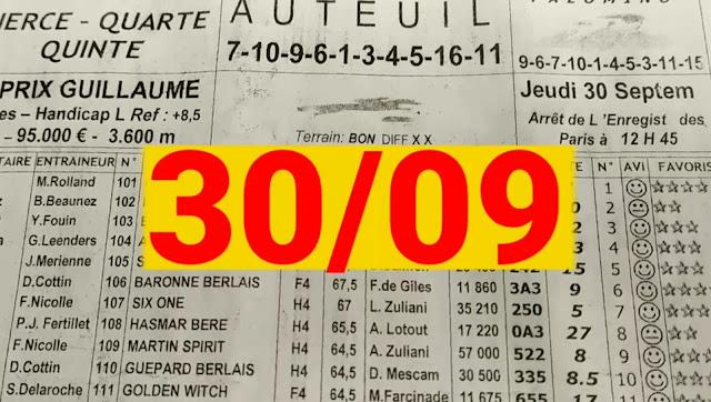 programme quinté+ Pronostic quinté jeudi 30/09/2021