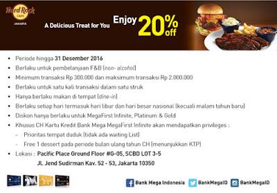 Diskon 20% Hard Rock Cafe Jakarta - Bank Mega