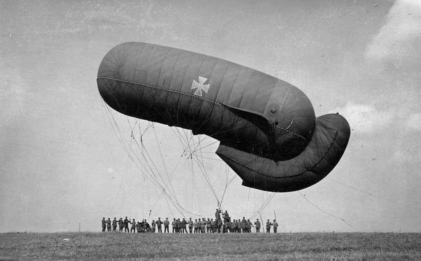 German captive balloon at Equancourt, France, on September 22, 1916. Observation balloons were used by both sides to gain an advantage of height across relatively flat terrain. Observers were lifted in a small gondola suspended below the hydrogen-filled balloons. Hundreds were shot down during the course of the war.